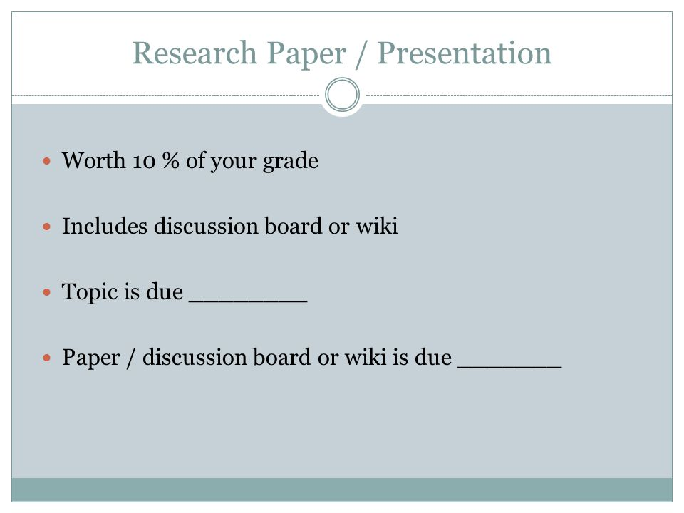Research Paper / Presentation