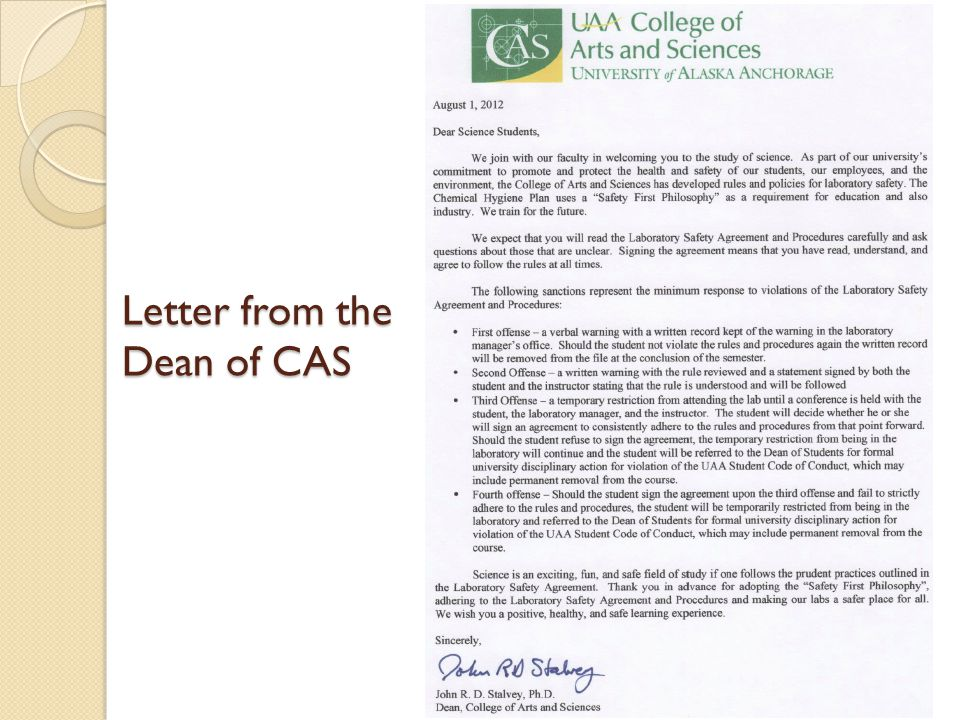 Letter from the Dean of CAS