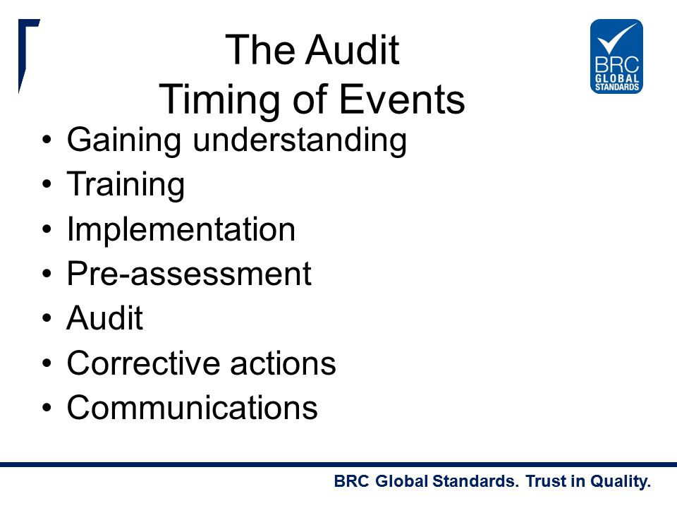 The Audit Timing of Events