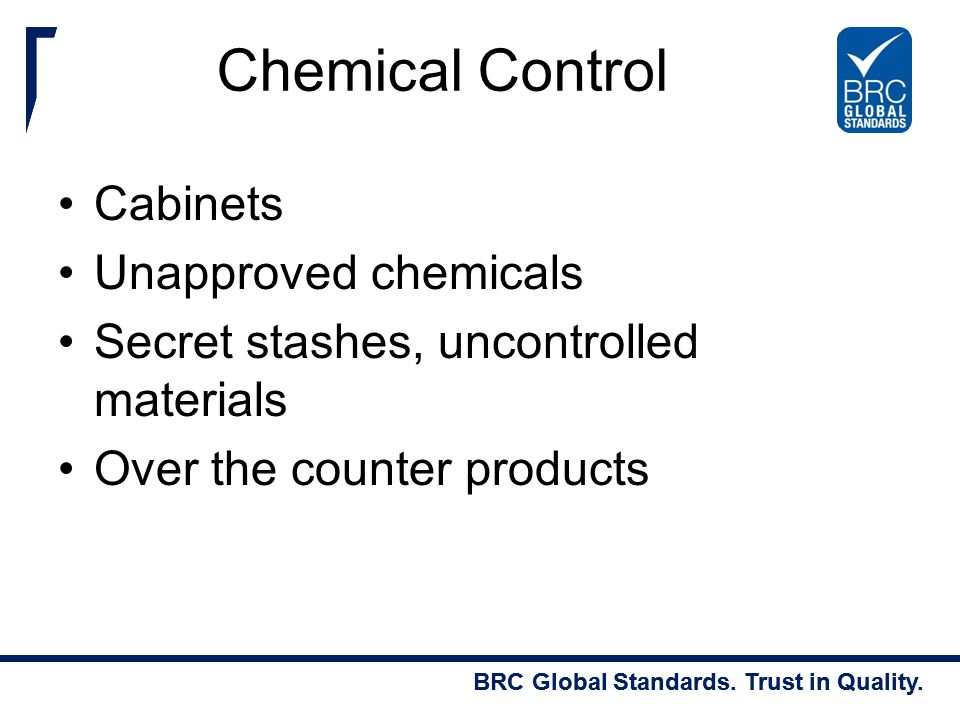 Chemical Control Cabinets Unapproved chemicals