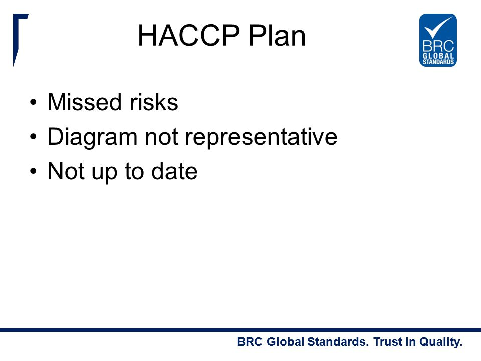 HACCP Plan Missed risks Diagram not representative Not up to date