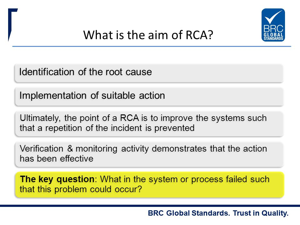 What is the aim of RCA Identification of the root cause
