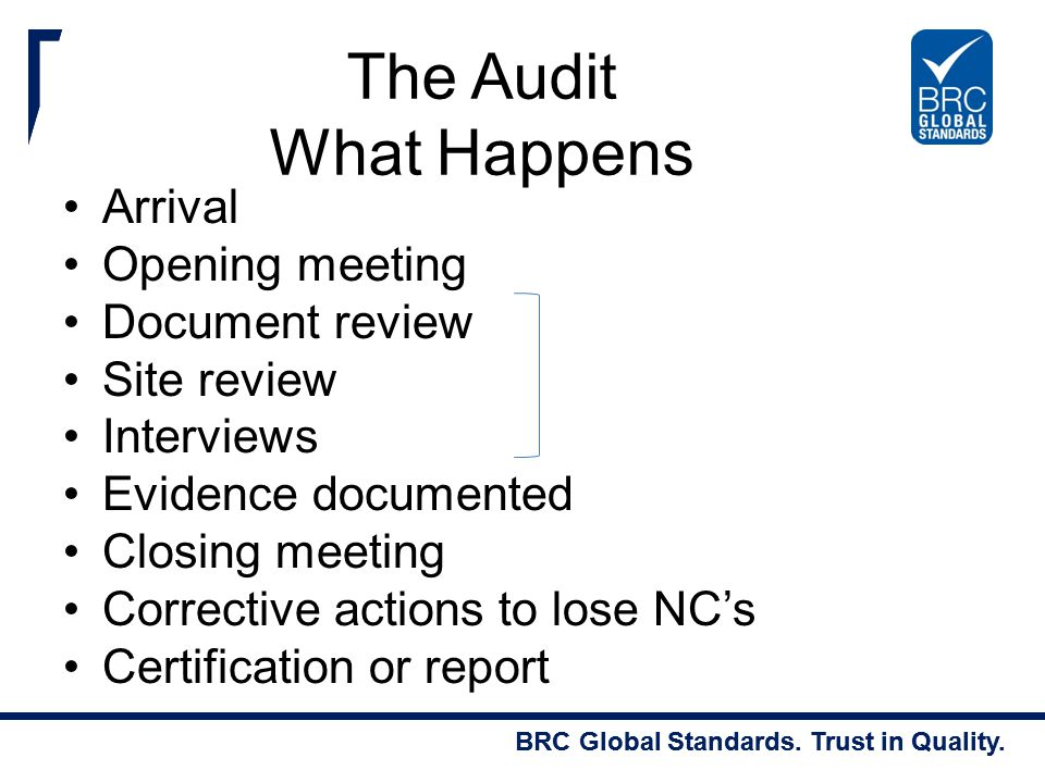 The Audit What Happens Arrival Opening meeting Document review