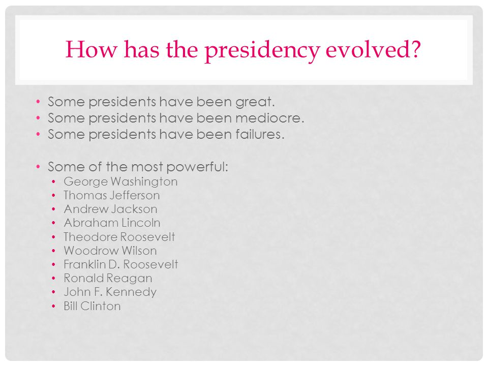 How has the presidency evolved