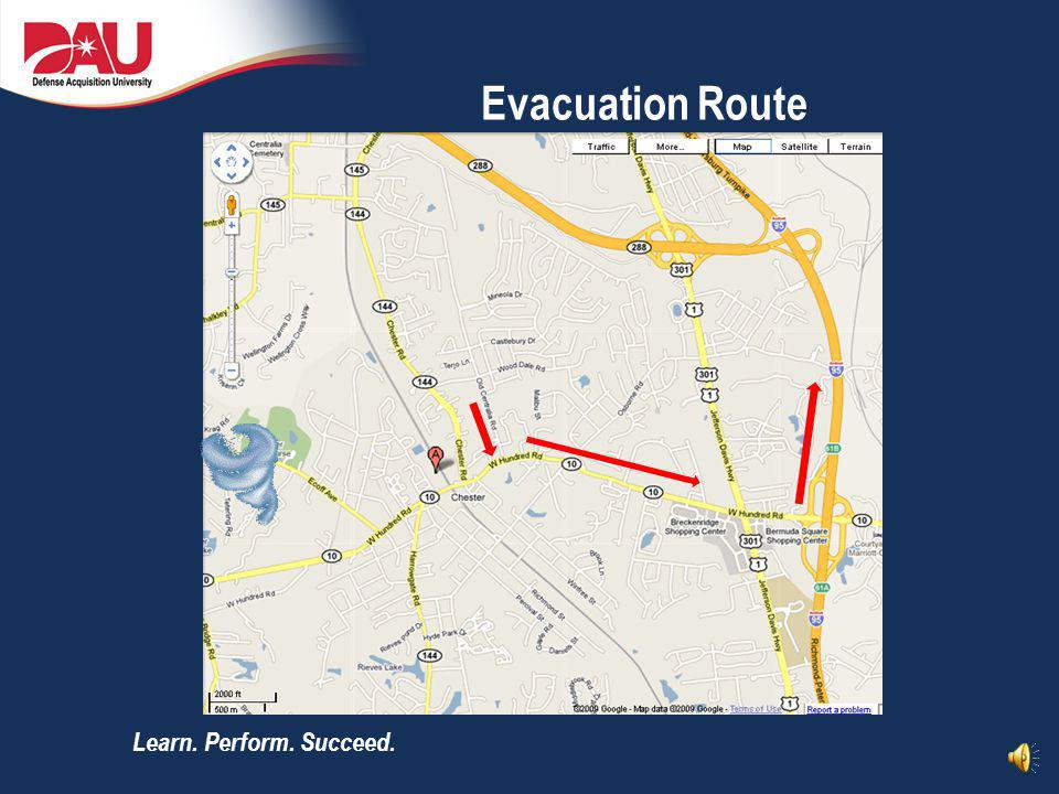 Evacuation Route In case of a catastrophic weather emergency please follow the marked evaluation route.