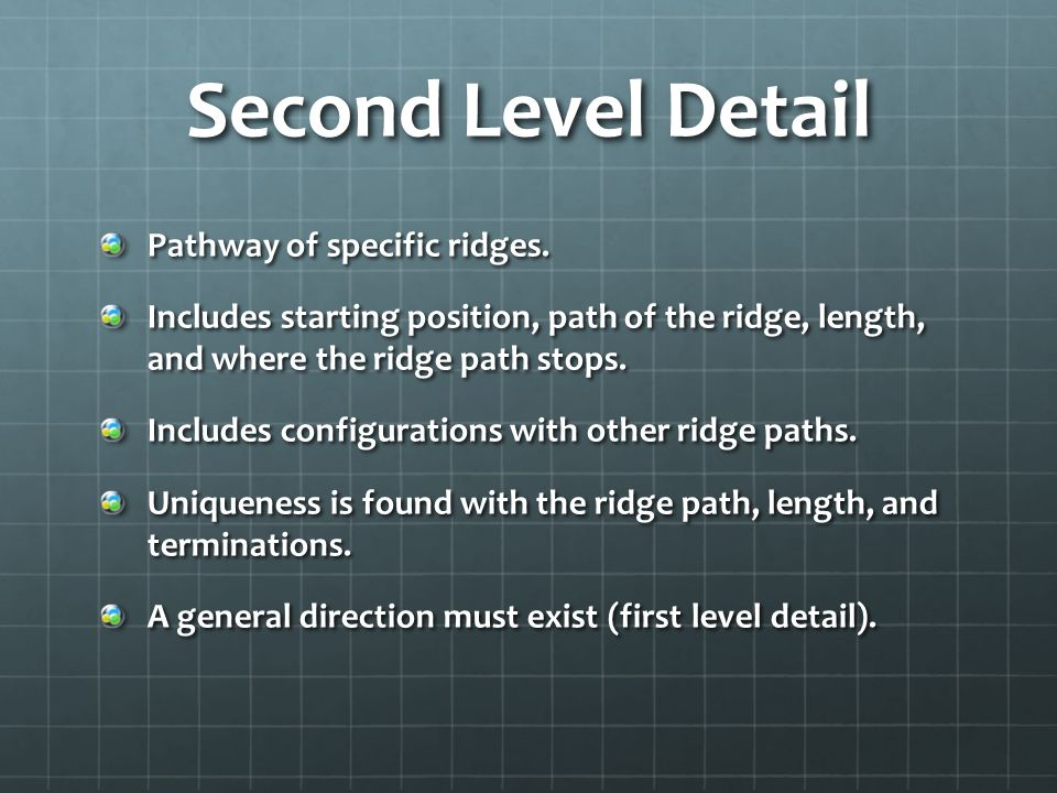 Second Level Detail Pathway of specific ridges.