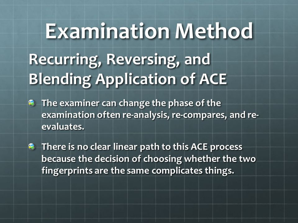 Examination Method Recurring, Reversing, and Blending Application of ACE.