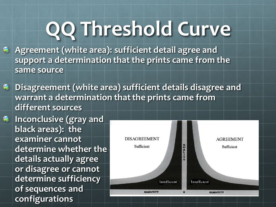 QQ Threshold Curve Agreement (white area): sufficient detail agree and support a determination that the prints came from the same source.