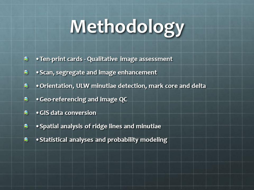 Methodology •Ten-print cards - Qualitative image assessment