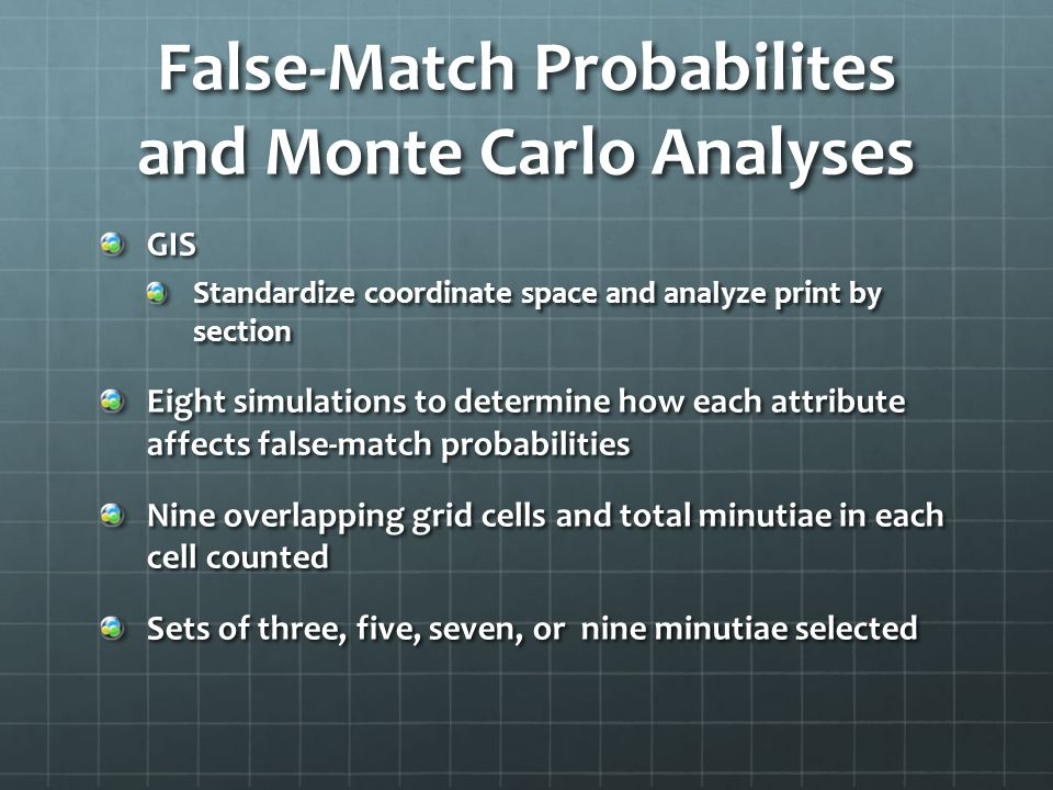 False-Match Probabilites and Monte Carlo Analyses