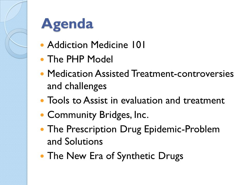 Agenda Addiction Medicine 101 The PHP Model