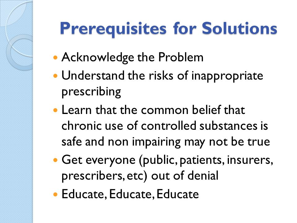 Prerequisites for Solutions