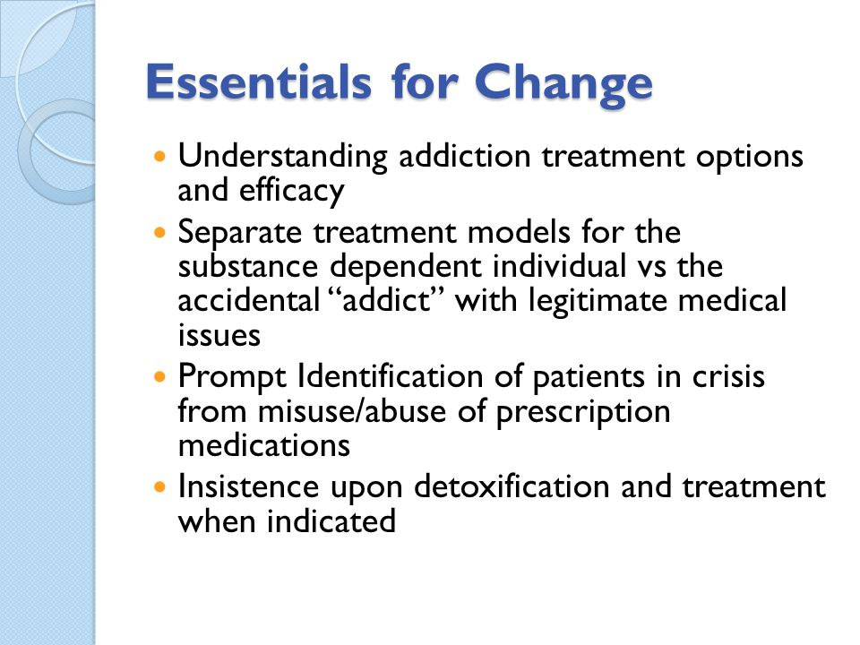Essentials for Change Understanding addiction treatment options and efficacy.