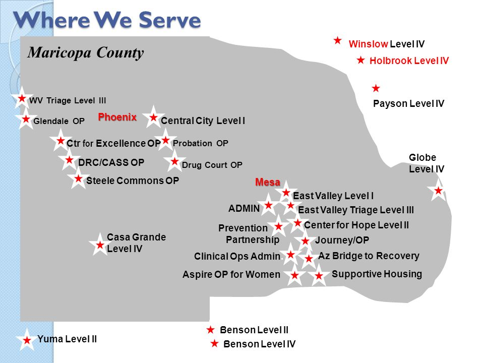Where We Serve Maricopa County Phoenix Mesa Winslow Level IV