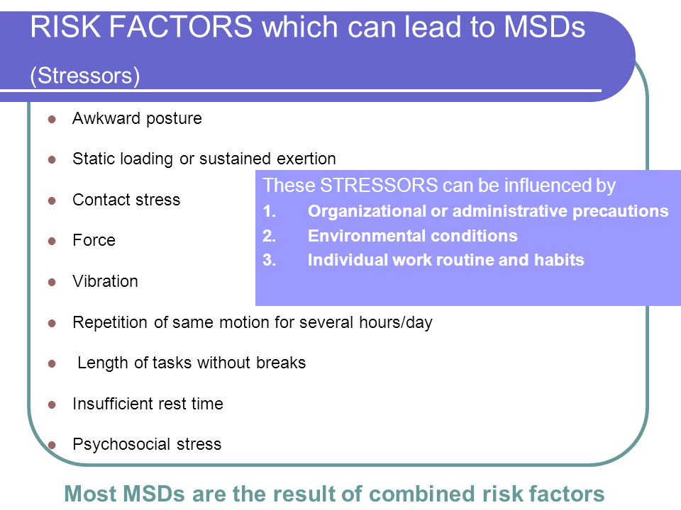 RISK FACTORS which can lead to MSDs (Stressors)