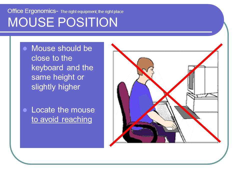Office Ergonomics- The right equipment, the right place MOUSE POSITION