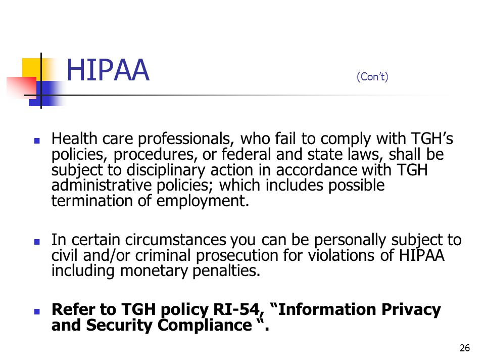 HIPAA (Con't)