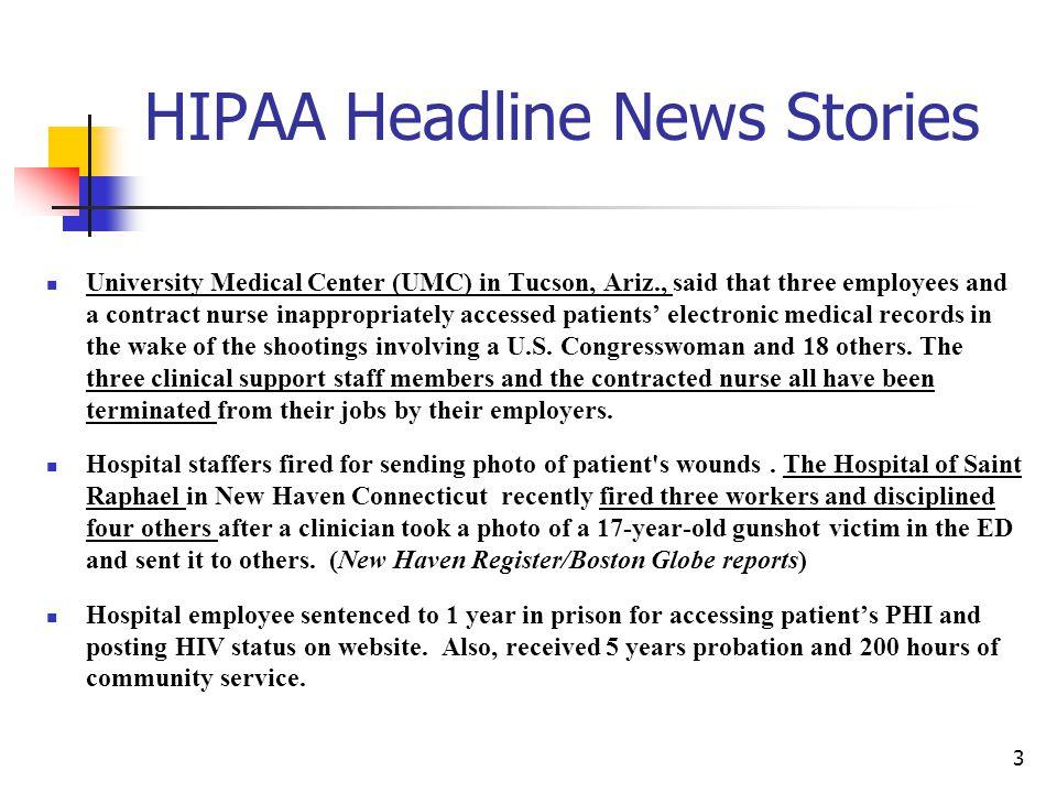HIPAA Headline News Stories