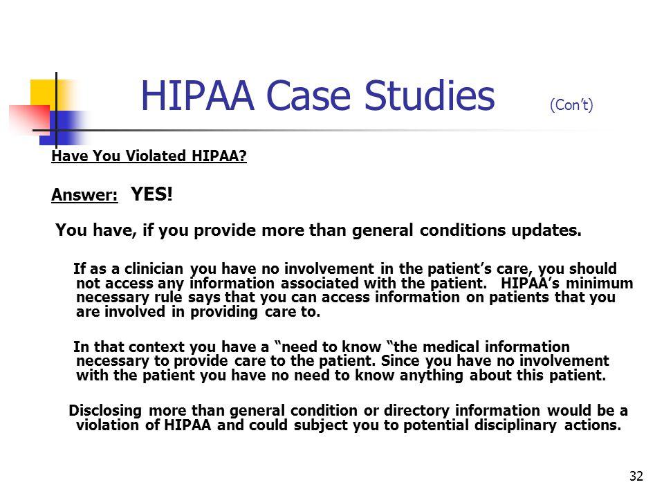 HIPAA Case Studies (Con't)