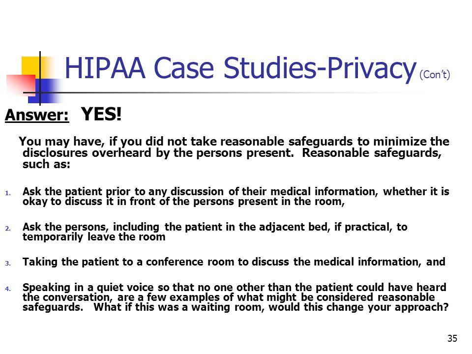 HIPAA Case Studies-Privacy (Con't)