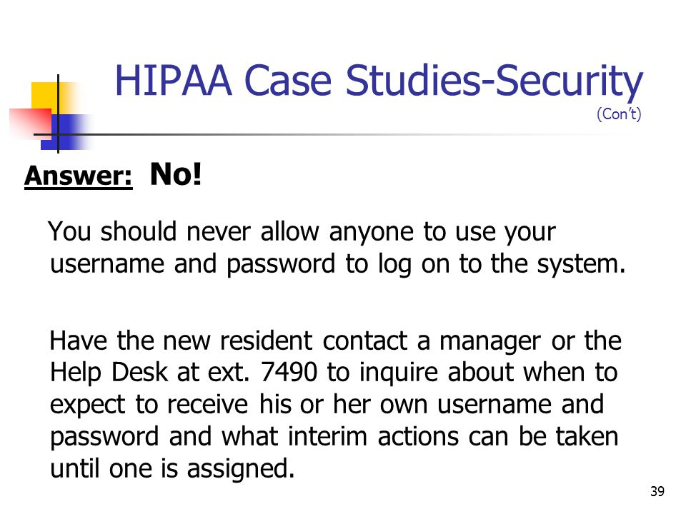 HIPAA Case Studies-Security (Con't)