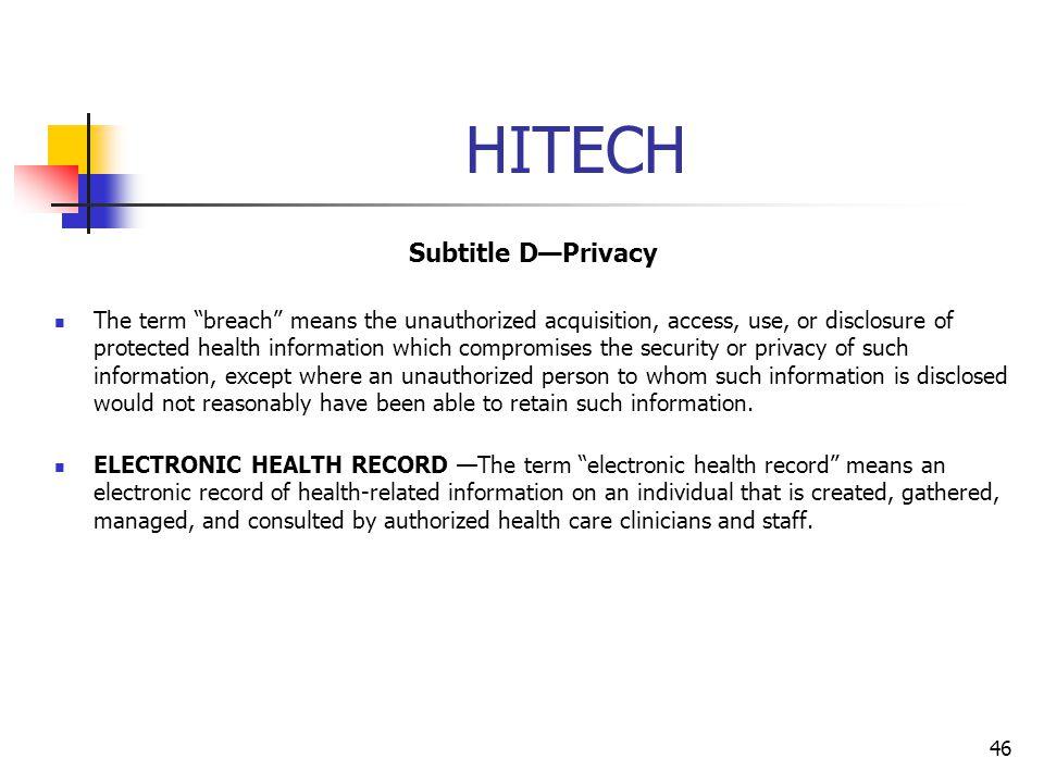 HITECH Subtitle D—Privacy