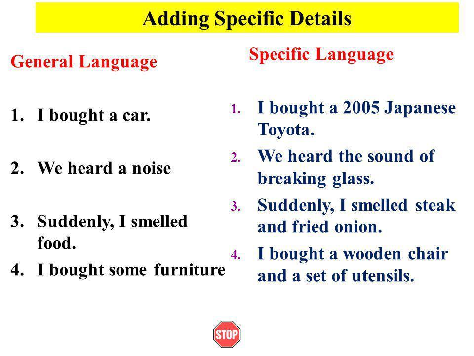 Adding Specific Details