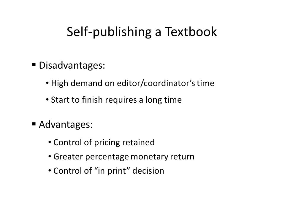 Self-publishing a Textbook