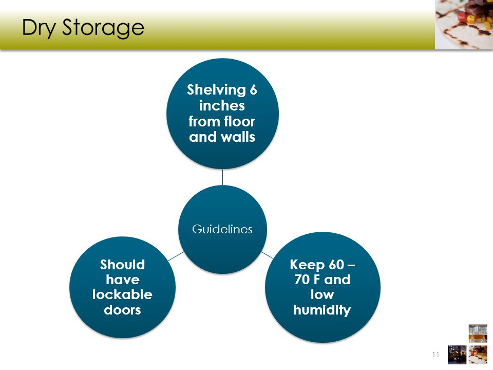 Dry Storage Guidelines Shelving 6 inches from floor and walls