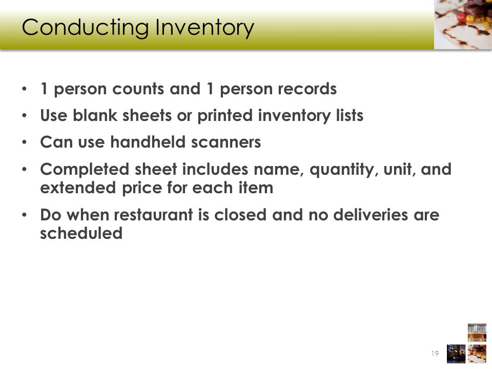 Conducting Inventory 1 person counts and 1 person records