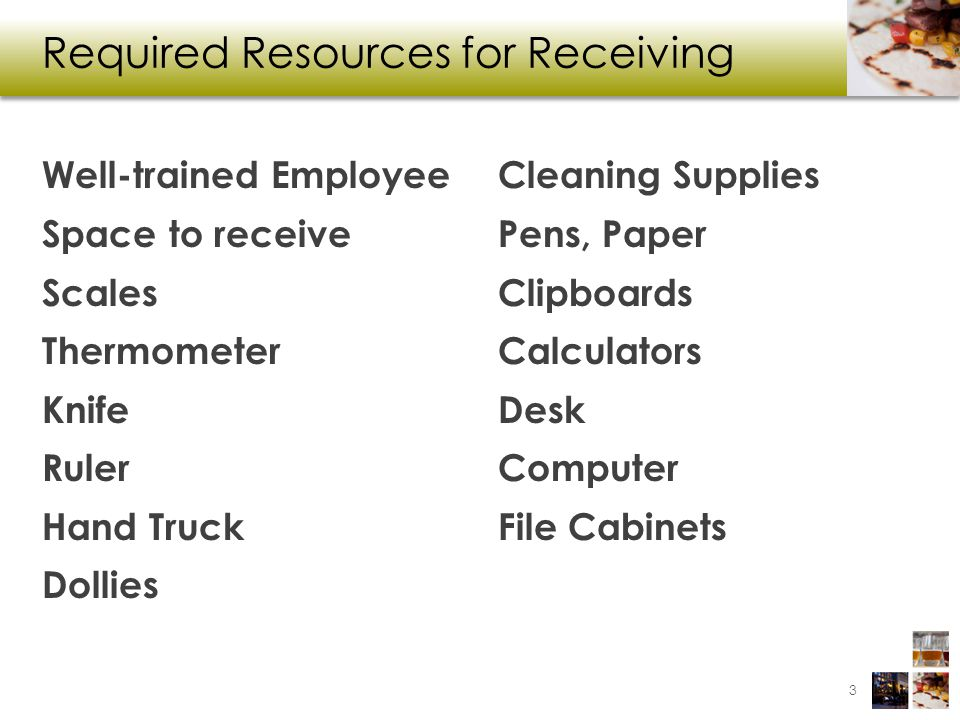 Required Resources for Receiving