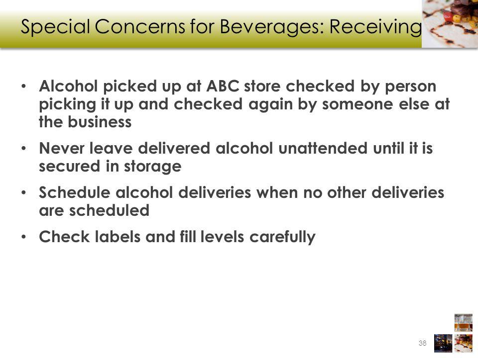 Special Concerns for Beverages: Receiving