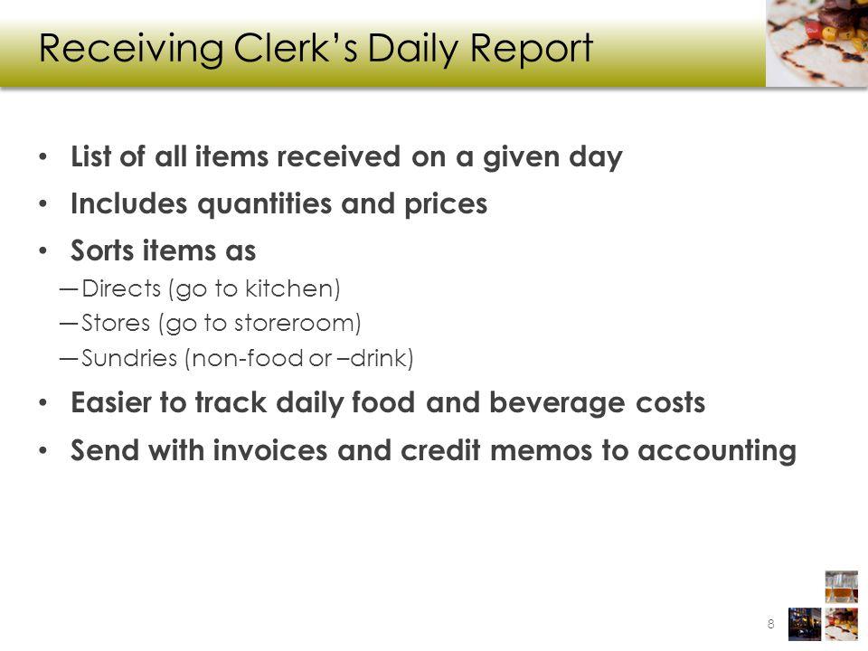 Receiving Clerk's Daily Report