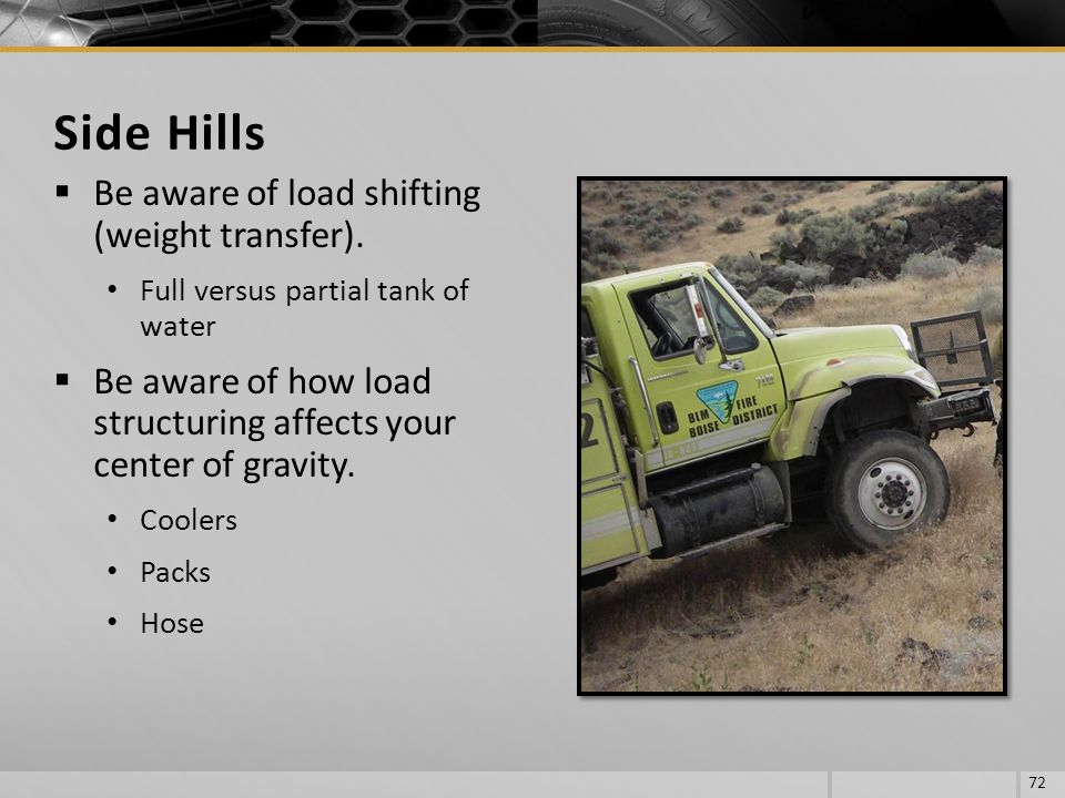 Side Hills Be aware of load shifting (weight transfer).