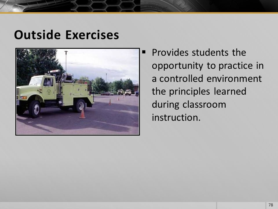 Outside Exercises Provides students the opportunity to practice in a controlled environment the principles learned during classroom instruction.
