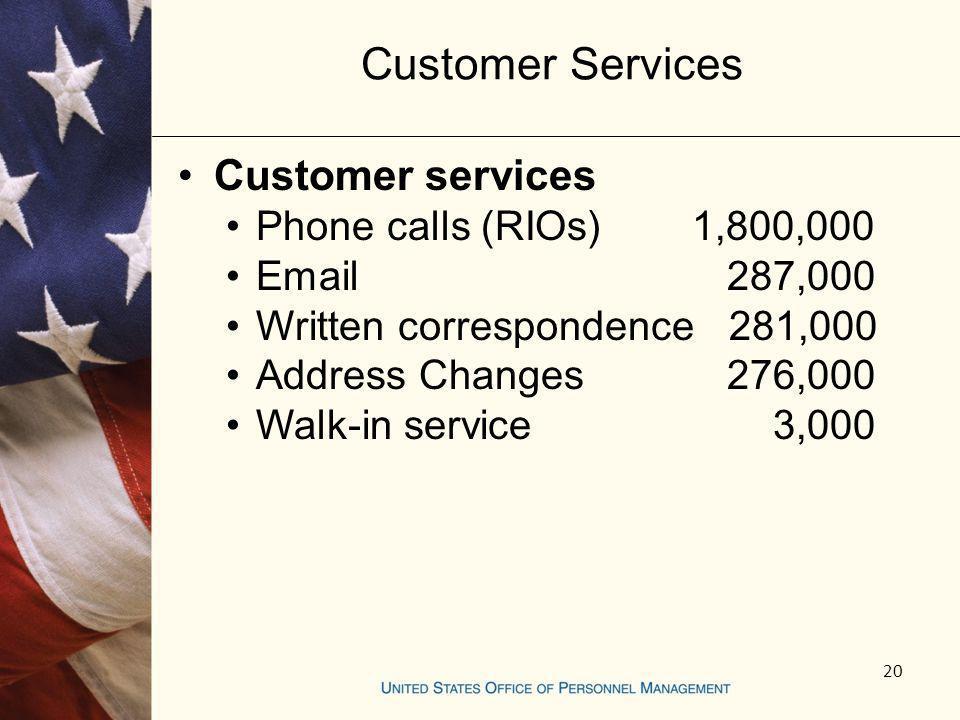 Customer Services Customer services Phone calls (RIOs) 1,800,000