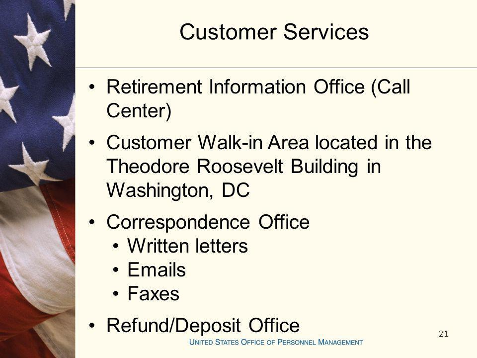 Customer Services Retirement Information Office (Call Center)