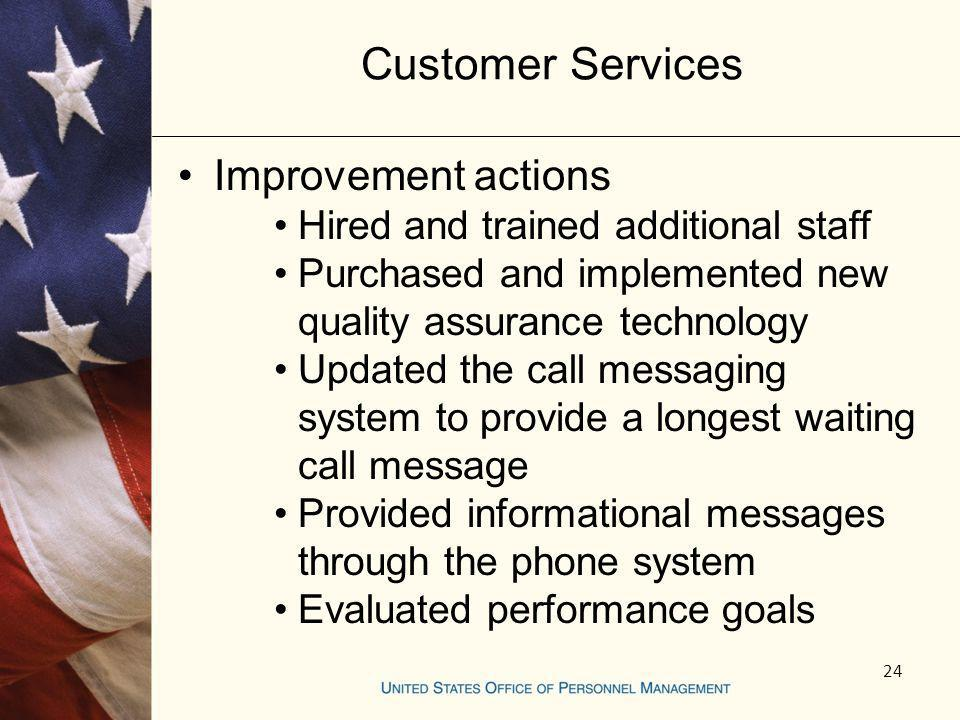 Customer Services Improvement actions