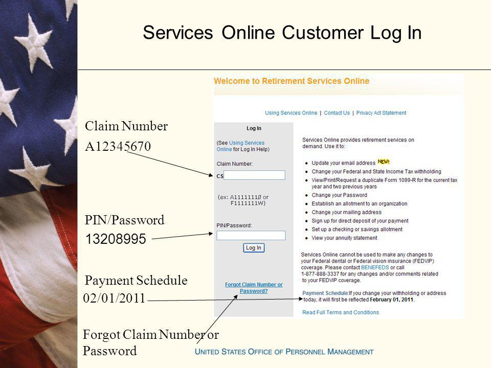 Services Online Customer Log In