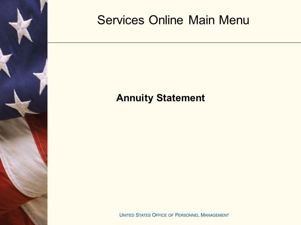 Services Online Main Menu