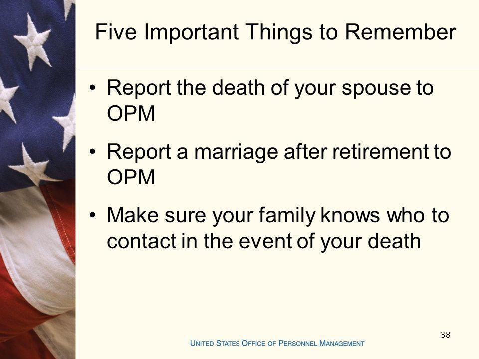 Five Important Things to Remember