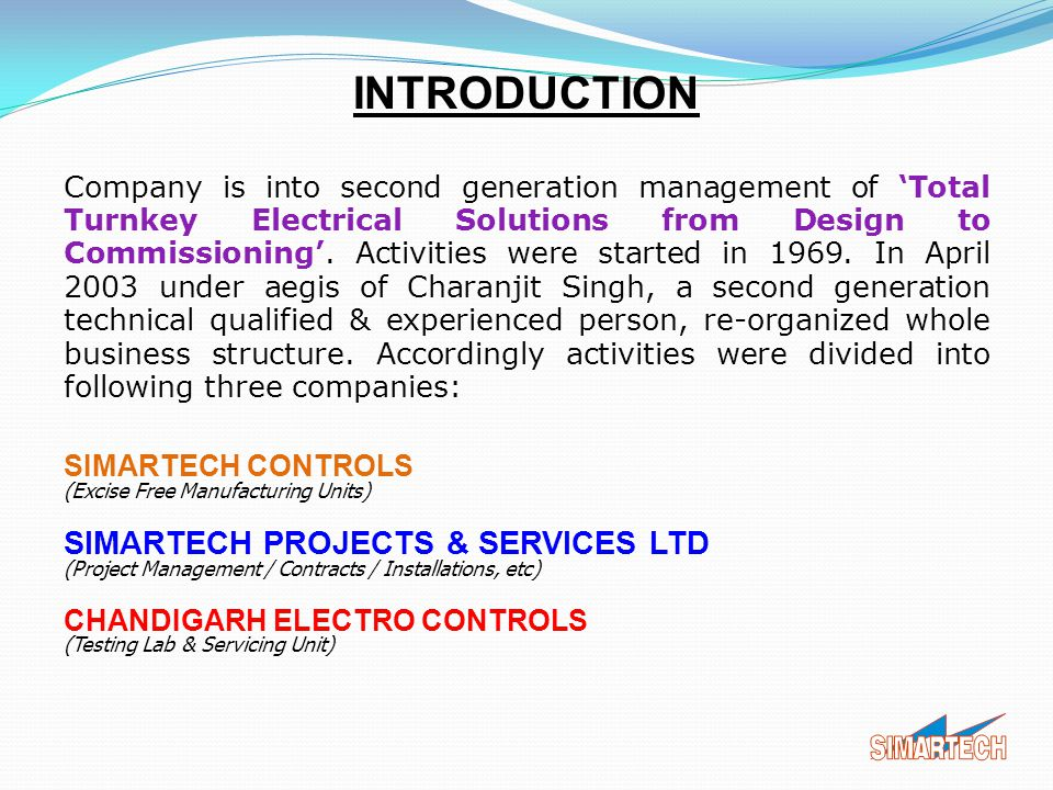 INTRODUCTION SIMARTECH PROJECTS & SERVICES LTD