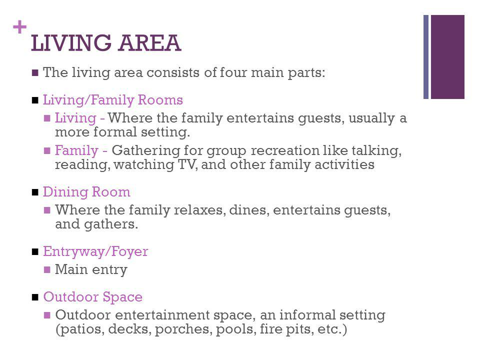 LIVING AREA The living area consists of four main parts: