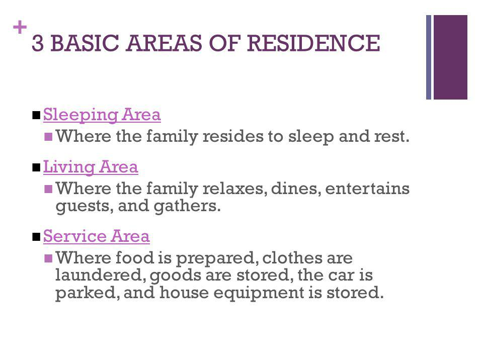 3 BASIC AREAS OF RESIDENCE