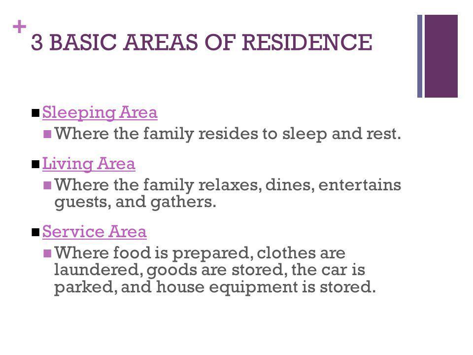 3 BASIC AREAS OF RESIDENCE