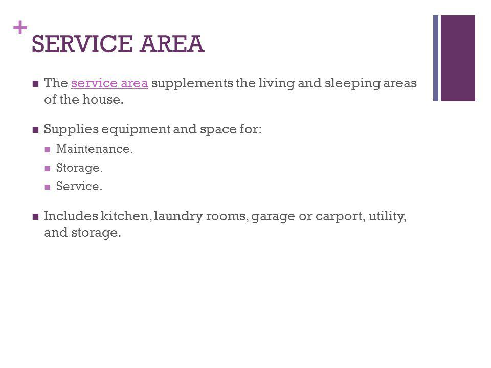 SERVICE AREA The service area supplements the living and sleeping areas of the house. Supplies equipment and space for: