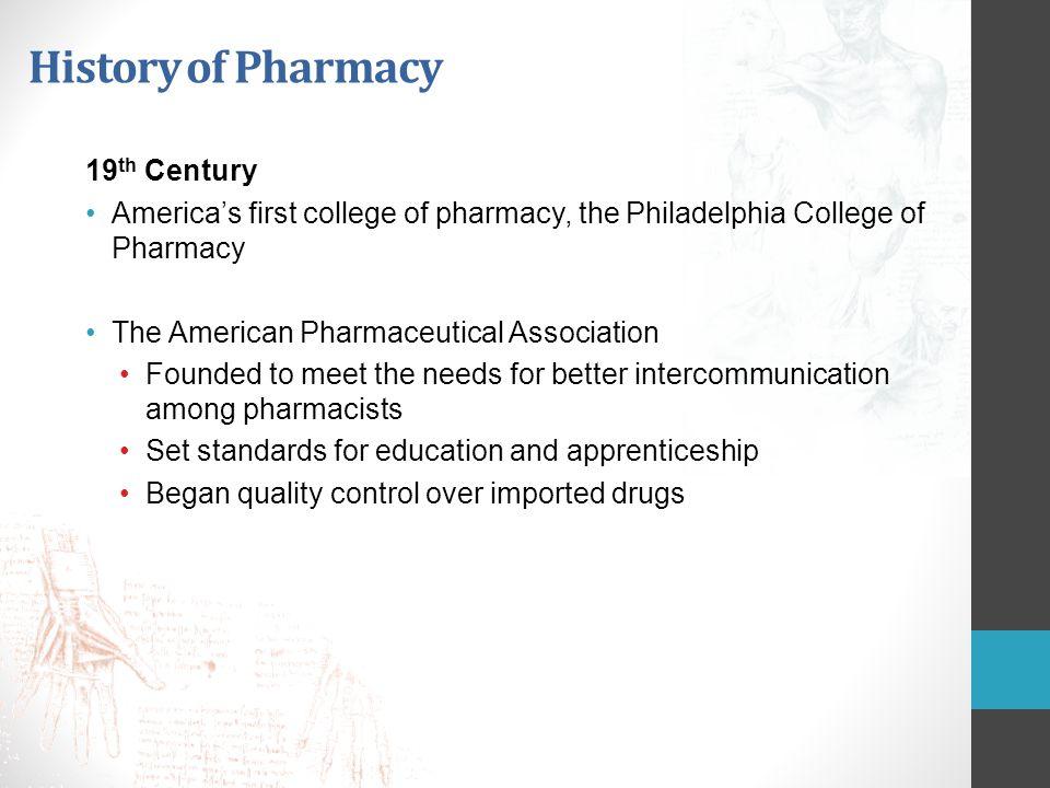 History of Pharmacy 19th Century