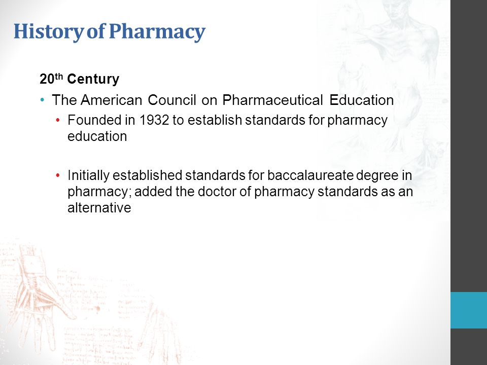 History of Pharmacy The American Council on Pharmaceutical Education