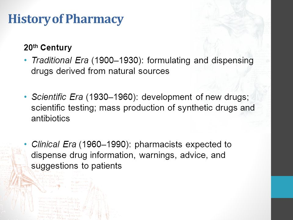 History of Pharmacy 20th Century. Traditional Era (1900–1930): formulating and dispensing drugs derived from natural sources.