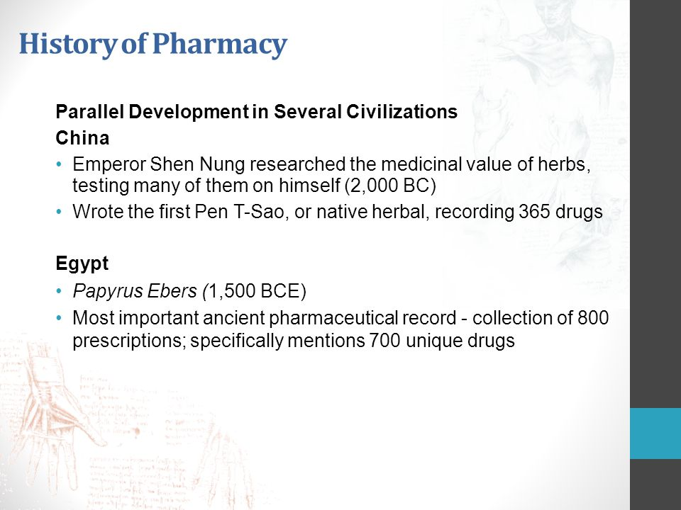 History of Pharmacy Parallel Development in Several Civilizations